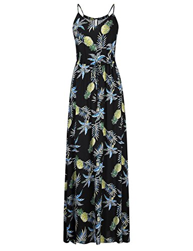 Leadingstar Women's Cami Strap Floral Beach Empire Maxi Dress (Black Ananas, S)