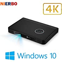 Mini Projector LED HD Windows 10 Screenless Computer Smart Beamer Business Projectors Pocket Portable Office Home Theater Battery
