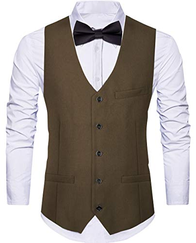 WANNEW Men¡¯s Suit Vest Business Formal Dress Waistcoat Vest with Pockets for Suit or Tuxedo (Large, Brown)