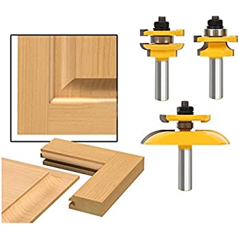 AccOED 3Pcs 1/2\u0027\u0027 Shank Rail \u0026 Stile Ogee Blade Cutter Panel Cabinet  sc 1 st  Amazon.com & AccOED 3pcs Bit Raised Panel Cabinet Door Router Bit Set with ...
