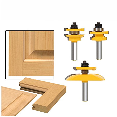 AccOED 3Pcs 1/2'' Shank Rail & Stile Ogee Blade Cutter Panel Cabinet Router Bits Set Milling cutter Power Tools Door knife Wood - Cabinet Router