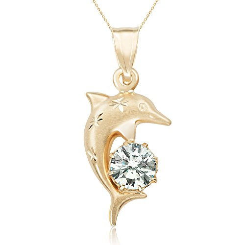 2017 New Style Real 14k Yellow Gold CZ Dolphin Pendant Necklace for Woman and Girls (18) by Jewel Connection