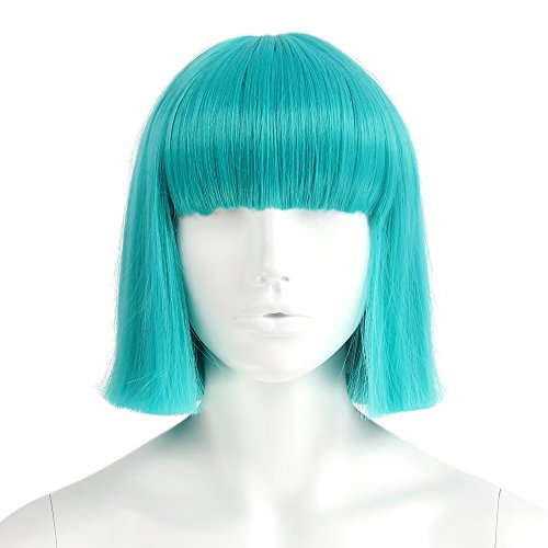 At-st Pilot Costume (Stfantasy Wigs for Women Cosplay Costume Short Straight Synthetic Flat Bang 12 Inch 125g w/ free Wig Cap and Clips, Turquoise)