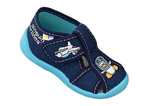 3f freedom for feet Jungen Babyschuhe Lauflernschuhe Kleinkind Neugeborene (Hausschuhe mit Leder Einlegesohlen) Größe 18 bis 25 Pinguin 2B5/10