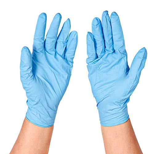 YIWANDA Disposable Gloves 10PCS Industrial Vinyl Gloves, Powder Free, Latex Free, Food Grade Gloves Blue (Medium)