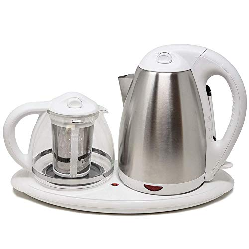Tea Maker Set - Kettle, Filter, Tray 3 Pc- Dual Electric Kettles Stainless Steel & Glass with Keep Tea Warm Tray Cordless Easy To Clean 1.7 L, ON/OFF Indicator Acid Resistant (White) -