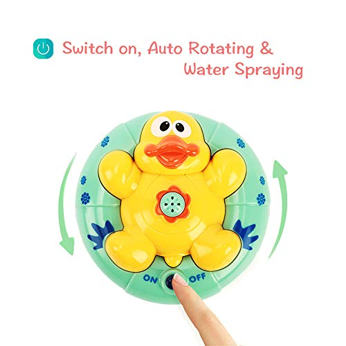Calornest Baby Bath Toys, Duck Automatic Rotating Spray Water Bathtub Toys, Induction Sprinkler Shower Toys for Toddlers Infants Kids Boys Girls(2 pcs)