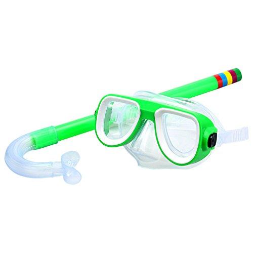 MONOMONO-Children Anti-Fog Swimming Mask Surface Snorkel Goggles Glasses Ideal for Diving (green)