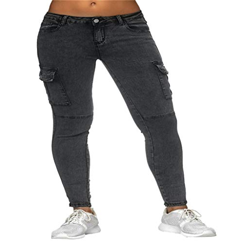 JOFOW Pants for Women Casual Skinny Solid Side Pockets Long Mid Waist Workwear Pencil Cigarette Crop Trousers (2XL,Gray) ()