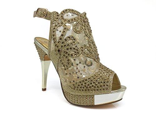 Angie15 Womens Open Toe High Heel Wedding Rhinestone Mesh Sling Back Sandal Wedge Shoes (10, gold)