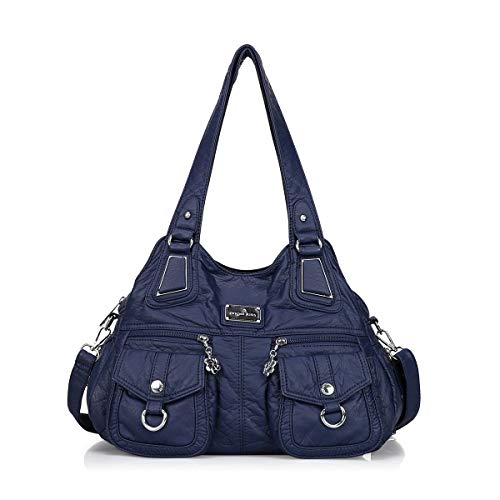 Angelkiss Handbag Women Soft Leather Shoulder Hobo Bag Designer Purses Ladies Handbags with Pockets (Blue)