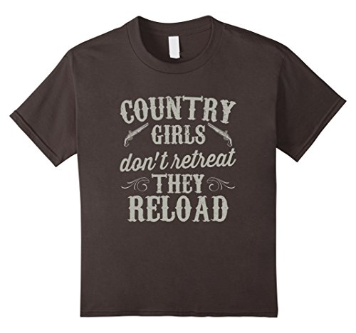 Cute Country Girl Costumes (Kids Country Girls Don't Retreat They Reload Pistol Gun T Shirt 10 Asphalt)