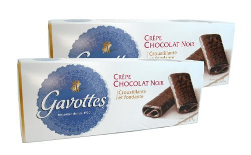 Gavottes - Crispy Lace Crepes From France Covered in Dark Chocolate 2 Packs 2x18 Crepes 2x3.2oz (2 (Lace Biscuit)