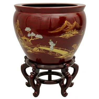 "Oriental Furniture 16"" Red Landscape Fishbowl"