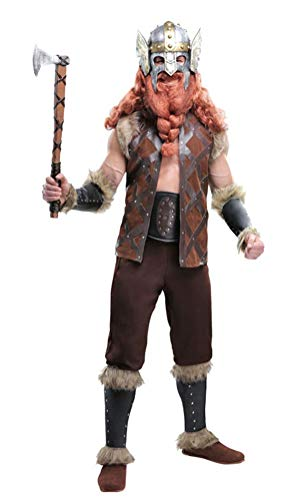Halloween Mens Nordic Mighty Viking Costume Adult Norse God Warrior Costume (XL) ()