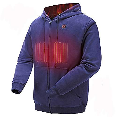COLCHAM Heated Sweatshirt Men Women Warm Fleece with Rechargeable Battery for Autumn Winter Navy