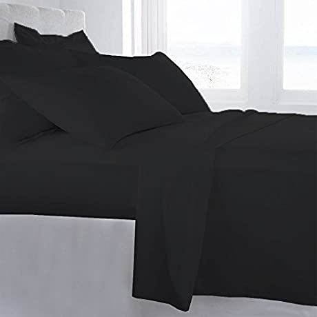 Lussona Collection 800 Thread Count 300 GSM 100 Egyptian Cotton Quality 5 Piece Comforter Includes 1 PC Comfoter 4 PCs Sheet Set 15 Deep Pocket Cal King Black