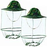 HunterBee 2PCS Mosquito Head Net Veil Mesh hat/Insect bat gnat fish Netting hat/ beekeeper hat with veil/ beekeeping protecti