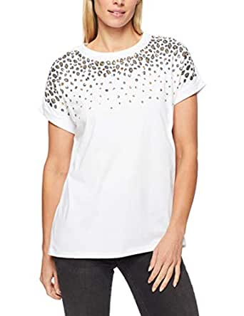 French Connection Women's Animal Sequin TEE, White/Gold/Black, Extra Small