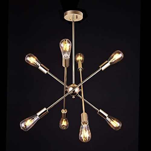 Letsun Gold Chandelier Rotatable Sputnik Light Fixture Modern Pendant Light Ceiling Light Fixture for Living Room Dinning Room Hallway Foyer Bistro, 8 Lights