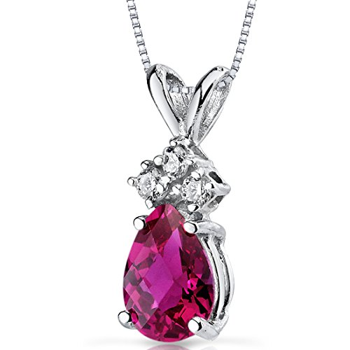 14 Karat White Gold Pear Shape 1.00 Carats Created Ruby Diamond Pendant