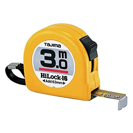 "Tajima H6P30MY""Hi Lock"" Measuring Tape, Yellow, 3 m x 16 mm"