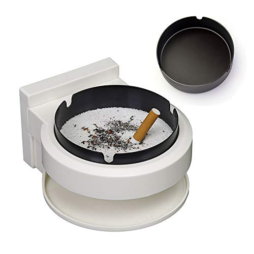 - HUIHUAN Ashtray Small Trash Can Steel Wall-Mounted Personality Stainless Cigarette Ashtray Free Punch with Suction for Bathroom Toilet