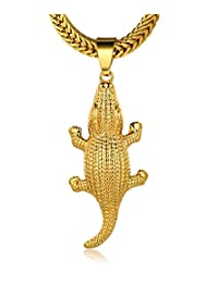"""Halukakah® Men's 18k Real Gold Plated """"KILLER"""" Crocodile Pendant Necklace,Cz Inlay,with FREE Fishtail Chain 30"""""""