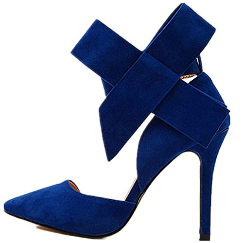 High Club Heels Pointy ANBOVER Stilettos Suede Blue Women's Sexy Bowknot Strap Party zqtaE1