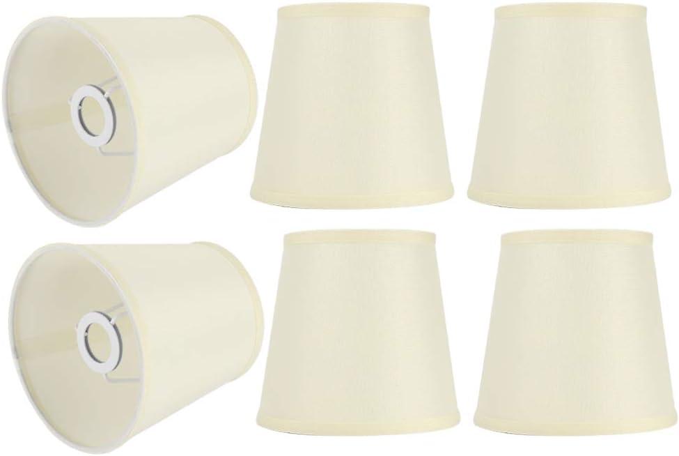 6PCS Cubierta de luz de Pantalla de Tela de Estilo Europeo Moderno de Color Crema para l/ámpara E14 Candelabro WAL Duokon Candelabro de Pantalla