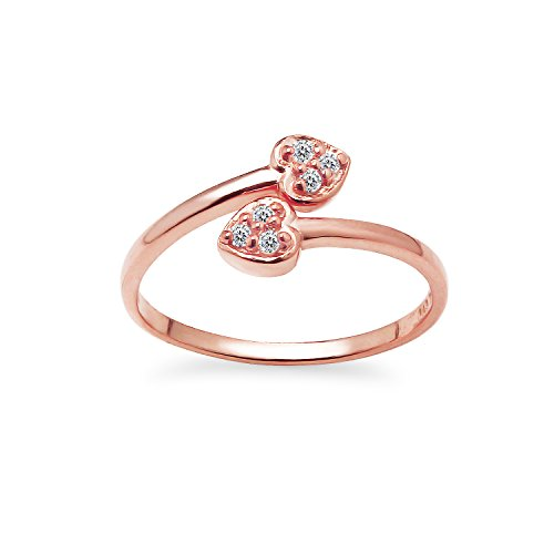 (Rose Gold Flashed Sterling Silver CZ Cubic Zirconia Double Heart Adjustable Toe Ring)