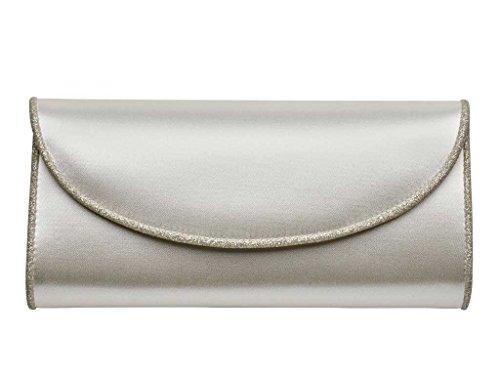 Ivory and Shimmer Handbag Satin Ivory Viki Satin and Silver Viki HZ8nrzEH
