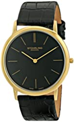 Stuhrling Original Men's 601.33351 Classic Ascot Swiss Quartz Ultra Thin Black Leather Strap Watch