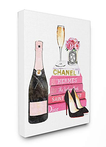 Stupell Industries Glam Pink Fashion Book Champagne Hells and Flowers Stretched Canvas Wall Art, Proudly Made in USA