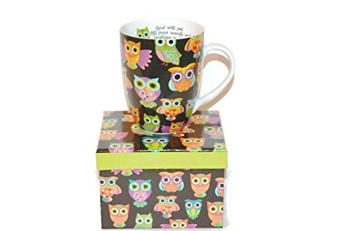 Gifted Perfect Inspirational Coffee Mug ^Owls With Matching Gift Box^ Scripture Job 8:21