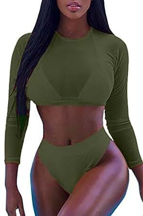 Laucote Long Sleeve Mesh Swimwear Crop Top Cheeky Bottom Bathing Suit for Women,Army Green,Small