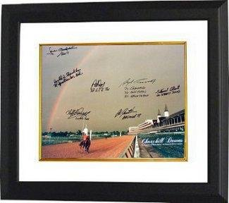 Smarty Jones signed Churchill Downs Kentucky Derby Winners (2004) Horse Racing Rainbow 16x20 Photo 7 signatures Custom Framed