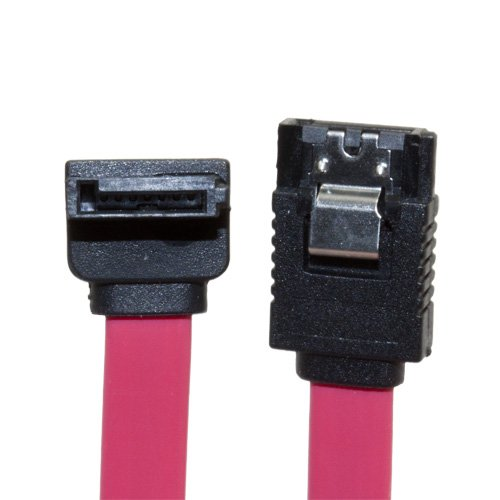 Aleratec Left Angle to Straight SATA 2.0 Data Cable with Clip, 12 Inches 6-Pack