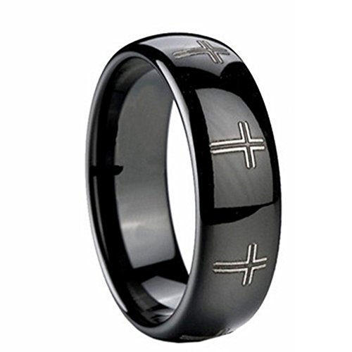 - Mens 8mm Black Tungsten Carbide Rings Laser Etched Cross High Polished Wedding Bands Size 8
