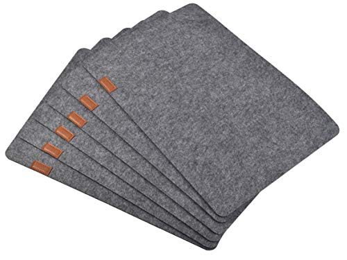 Aonewoe Felt Placemats Set of 6 Absorbent Table Mats Non Slip Heat Resistant Place Mats for Wood Table(Grey) - {Felt Material}:High quality Felt material, soft, durable,absorbent. Polyester felt make these placemats feel soft than normal plastic placemats.4mm thick table mats which is much thicker and more protective than a standard placemat. Suitable for wood table,marble countertop,glass table {Table Mats Specification}:Set of 6 placemats. Placemats size: 45*30cm(17.7*11.8in). 4mm thick Polyester felt provides a tough, protective layer to prevent damage even during accidents on glass tables and other furnitures {Why Choose Felt Placemats}:Absorb spills,water just doesn't permeate the thickness of these placemats;mid-century modern decor,suitable for marble countertop,wood table for dining room; Functional placemat, minimalist modern,quiet country living look,protect table and decorate home - placemats, kitchen-dining-room-table-linens, kitchen-dining-room - 41zCgCp4akL -