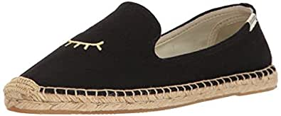 Soludos Women's Wink Embroidered Smoking Slipper, Black Gold, 5 B US