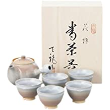 (Hattori Tenryu) Hagi ware yaki Tenryu Pottery wooden boxed Japanese tea pot cup set 2-38