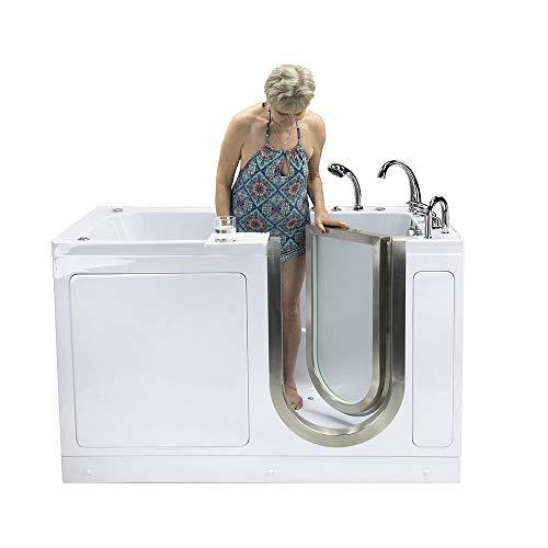 "Ella's Bubbles Ella Ultimate 30""x 60"" Air, Hydro and Foot Massage Acrylic Walk-in Bathtub, Left Inward Swing Door, Fast Fill Faucet, 2"" Dual Drain 30""x 60"" White"