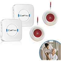 CallToU Wireless Caregiver Pager Smart Call System 2 SOS Call Buttons/Transmitters Nurse Calling Alert Patient Help System for Home/Personal Attention Pager 500+Feet Plugin Receiver Alert