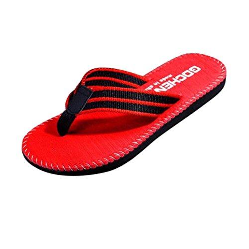 Cooljun Männer Sommer Streifen Flip Flops Schuhe Sandalen Männlichen Pantoffel Flip-Flops Red