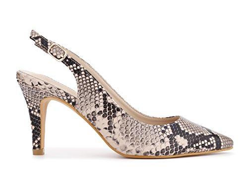 à Pointue 41 Côté Pointu Chaussures Talon Talon Le EU Élégante pour Bande Femmes et Serpent sur 36 avec Conception Boucle MaxMuxun Aiguilles à Ouvert Cwqp8qZ