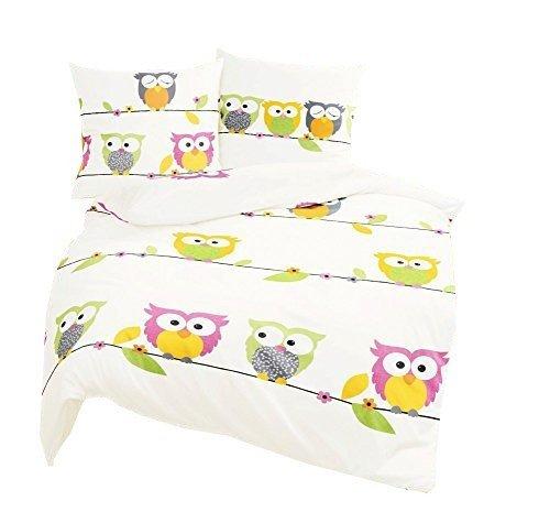 Bierbaum Kinder Bettwäsche Eule Owl Pink Biber mit Reißverschluss 6572 80 x 80 135 x 200 cm