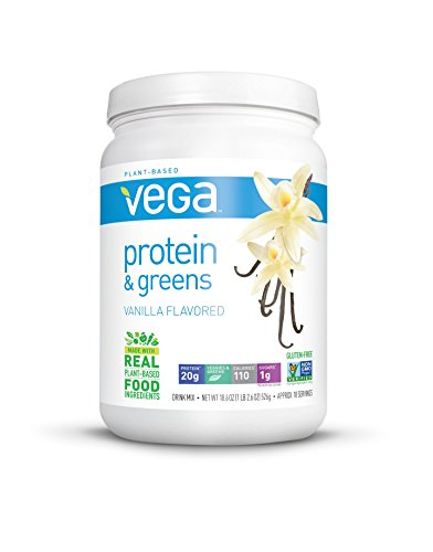 Vega Protein and Greens Tub Powder, Vanilla, 18.6 Ounce ()