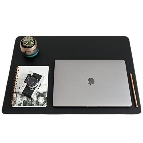 ZBRANDS // Leather Smooth Desk Mat Pad Blotter Protector 24'' x 17'', Midnight Black, Extended Non-Slip Rectangular, Laptop Keyboard Mouse Pad by ZBRANDS