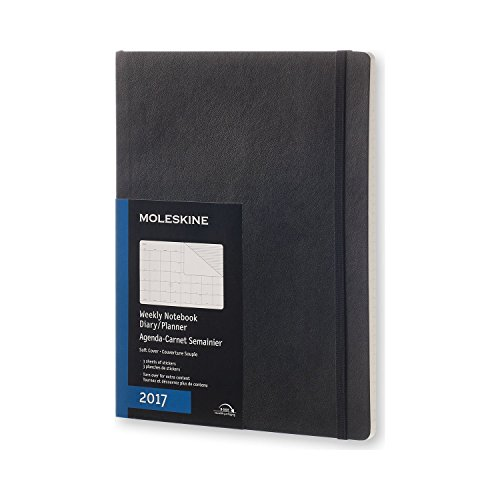 Moleskine 2017 Monthly Notebook, 12M, Extra Large, Black, Soft Cover (7.5 x 10)